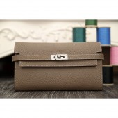 Hermes Kelly Longue Wallet In Etoupe Clemence Leather RS21572