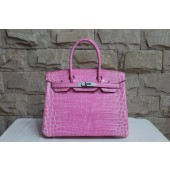 Hermes Shiny Alligator Crocodile Birkin 30cm Palladium Hardware Handstitched, Violet 5C RS08488