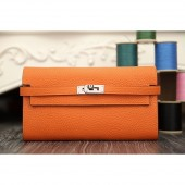 Imitation Designer Hermes Kelly Longue Wallet In Orange Clemence Leather RS19860