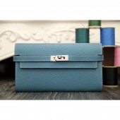 Luxury Hermes Kelly Longue Wallet In Jean Blue Clemence Leather RS04729