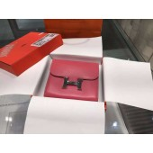 Quality Hermes Mini Constance Wallet Swift Calfskin Leather High Quality, Fuchsia Pink RS21472