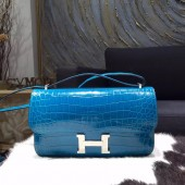 VIP Hermes Constance Elan 26cm Shiny Crocodile Skin Bag Handstitched Palladium Hardware, Blue Izmir 7W/Rouge Casque Q5 RS21423